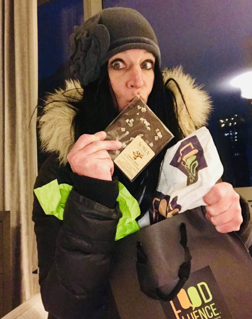Picture of me, Heather Mangieri, eating chocolate that I received as a gift.