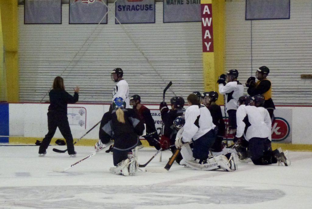 Athletes Learning skating strategies at Pittsburgh Hockey Camp