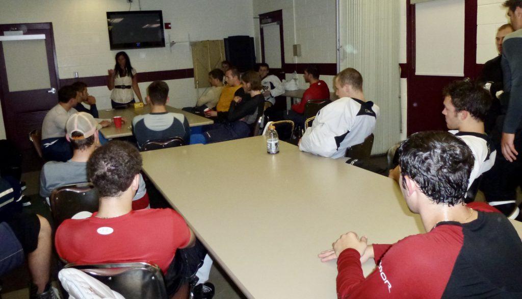 Teaching nutriton strategies to hockey players at Pittsburgh based hockey camp