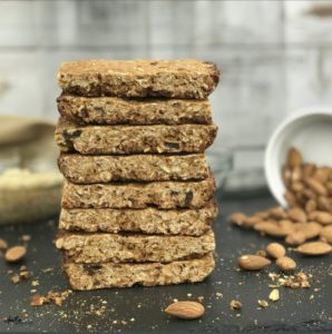 These crunchy energy and protein bars are super easy to make and make a great breakfast or snack any time of day. One bar provides 230 calories and 9 grams of protein with 3 grams of fiber.