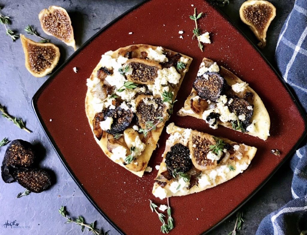 Fig, Caramelized Onion And Ricotta Flatbread Pizza
