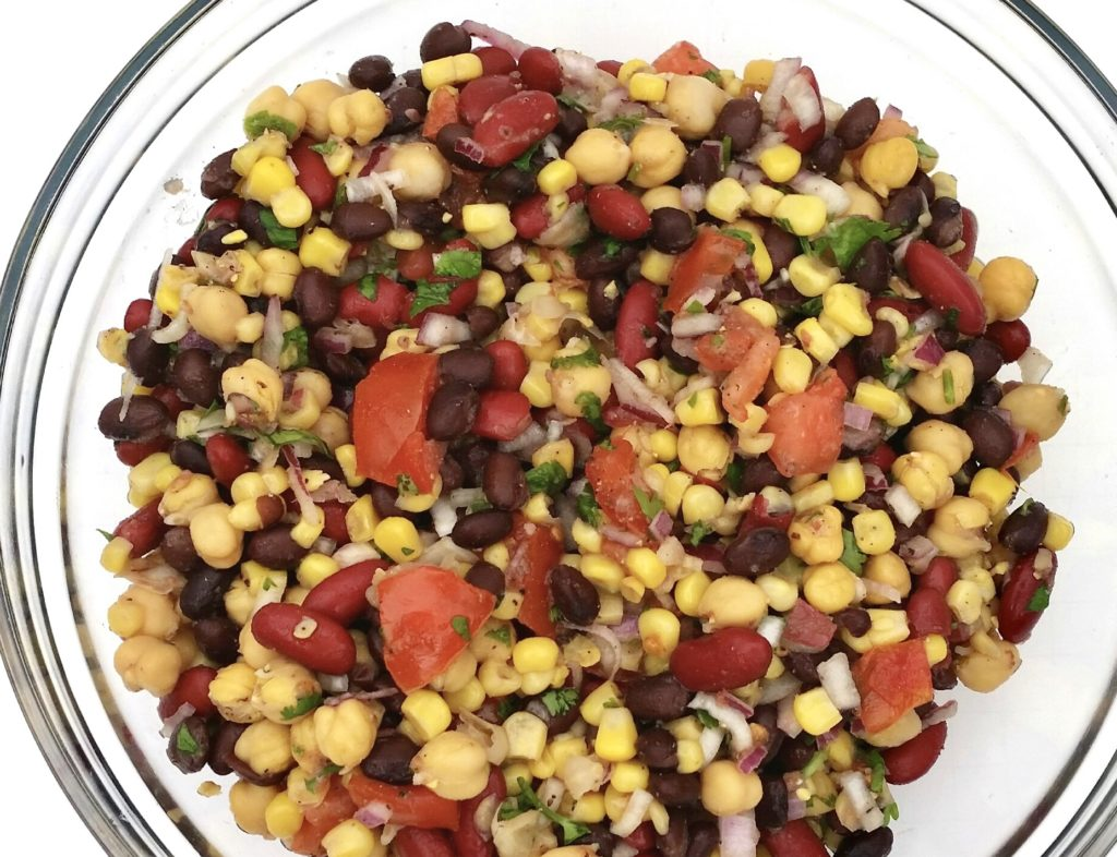 This protein-packed three bean salad is a twist on traditional recipes, resulting in more high-quality protein and fiber per serving, while having less sugar and fat. It makes a great side dish at home, or can easily be packed and eaten on-the-go.