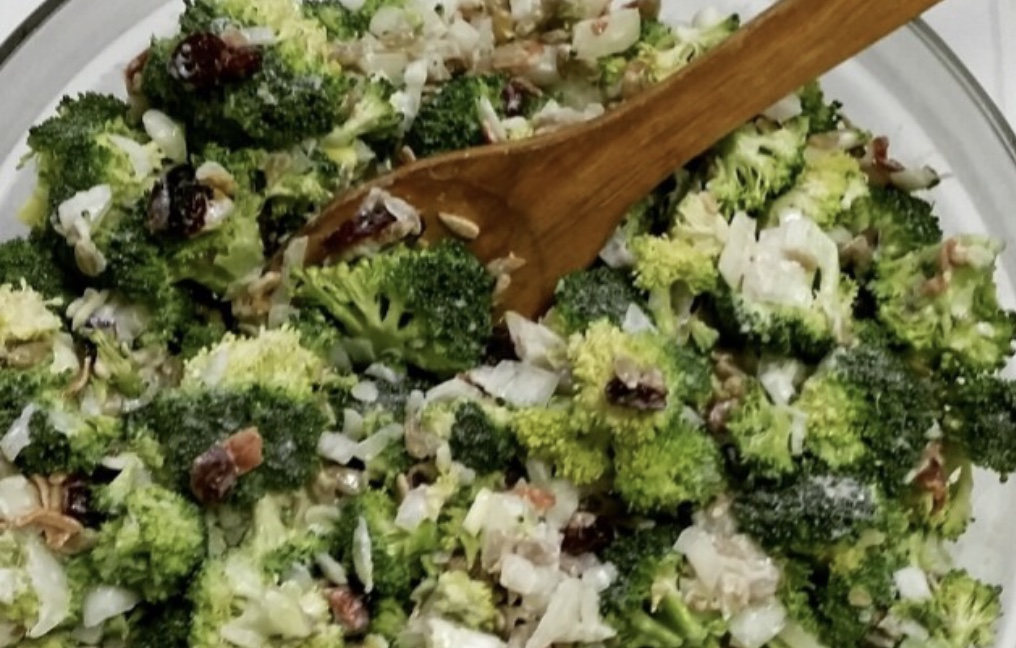 This healthy broccoli salad is a twist on traditional recipes and has more protein, calcium and even some vitamin D, with a lot less sodium and fat.