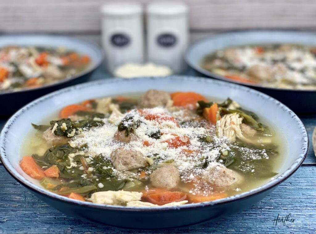 This hearty wedding soup is packed with 34 grams of protein and 3 grams of fiber per serving, making it a nutritious, flavorful meal for home or on the go.