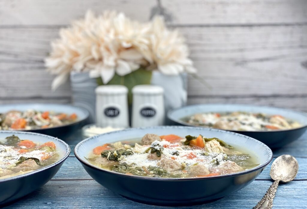 This hearty wedding soup is packed with 34 grams of protein and 3 grams of fiber per serving, making it a nutritious, flavorful meal for home or on the go
