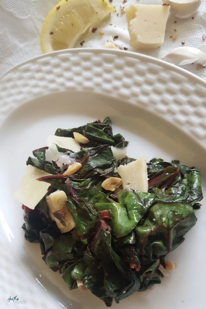 An easy recipe for Swiss chard with shaved Parmesan