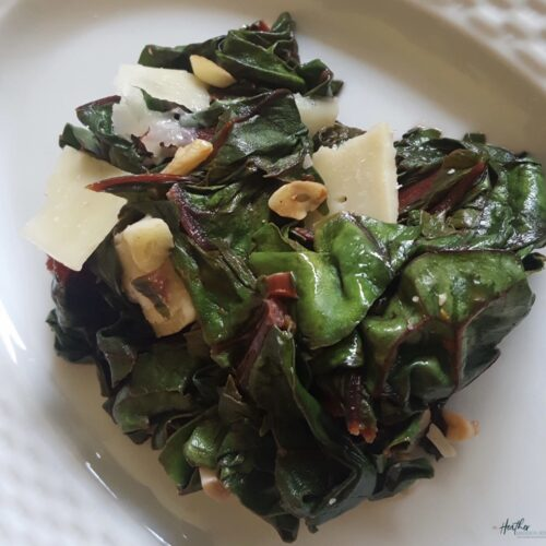 Swiss chard is a fantastic source of vitamin A, C, and K, as well as magnesium, potassium, iron and fiber. Serve it with shaved Parmesan for a delicious side dish