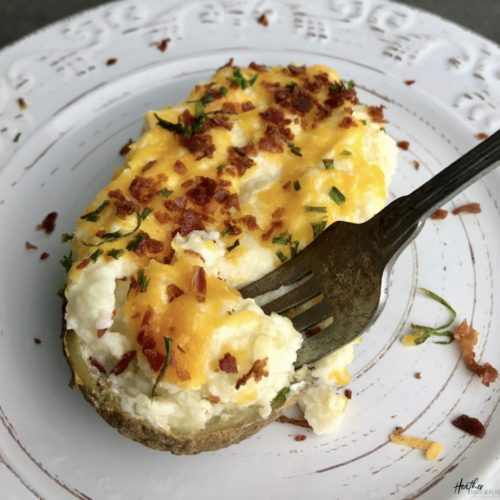A healthier version of twice baked potatoe made with fat free sour cream and calorie controlled.