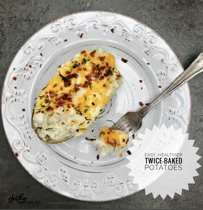 Easy and Healthy Twice Baked Potato Recipe that is low fat and calorie controlled.