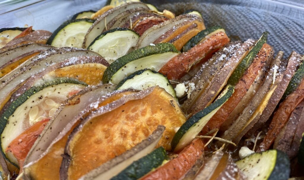 This potato, tomato and zucchini casserole incorporates both white and sweet potatoes is delicious and highly nutritious. Plus, it adds loads of color to your plate