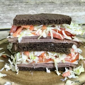 This roast beef and pumpernickel sandwich provides 360 calories, 35 g carbohydrates, 1 g fiber, 24 g protein, 14 g fat, and 20% of the DV for calcium and iron – making it a simple, balanced and easy quick meal.