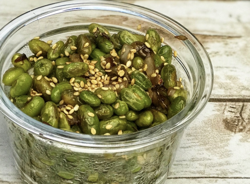 Edamame with Roasted Sesame seeds, includes recipe and nutrition information