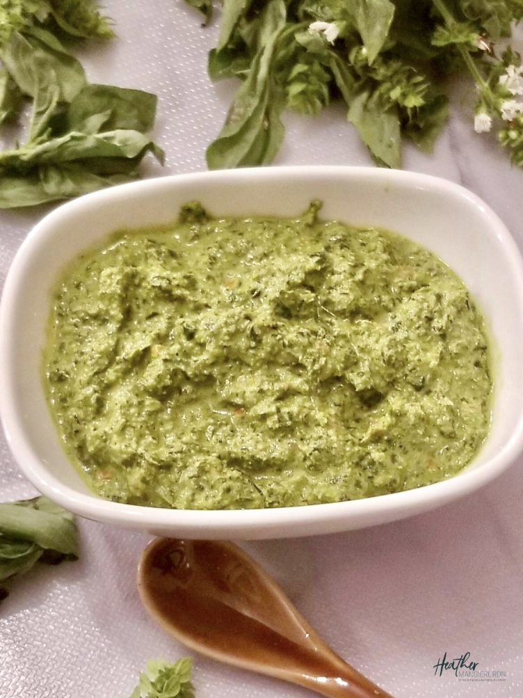 This homemade basil pesto is packed full of flavor and the perfect way to add freshness to pasta, pizza, sandwiches, chicken or shrimp.