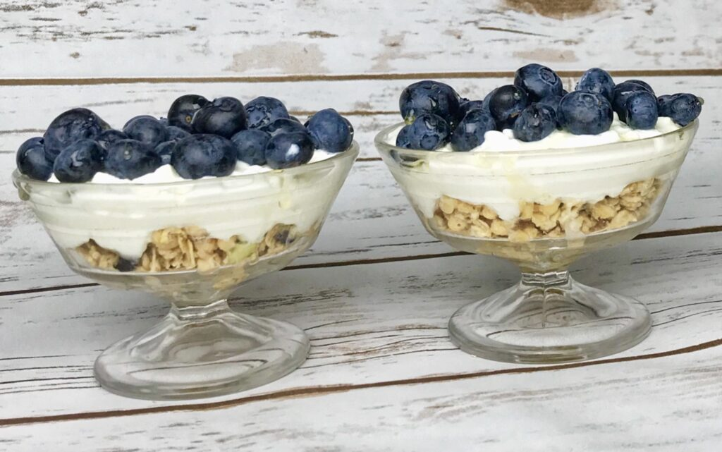 A cottage cheese parfait makes a great balanced and healthy snack.