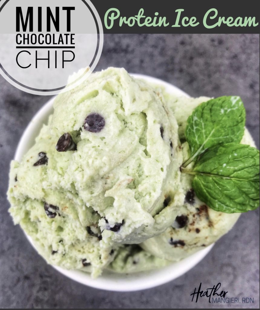 This creamy, mint chocolate chip protein ice cream is absolutely delicious and the perfect sweet treat for any day of the week. It's lower in calories and fat compared to traditional ice cream, uses natural green coloring, and is packed with 10 grams of high-quality protein per serving