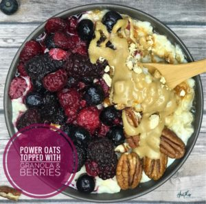Power protein Oats with berries, nuts and peanut butter