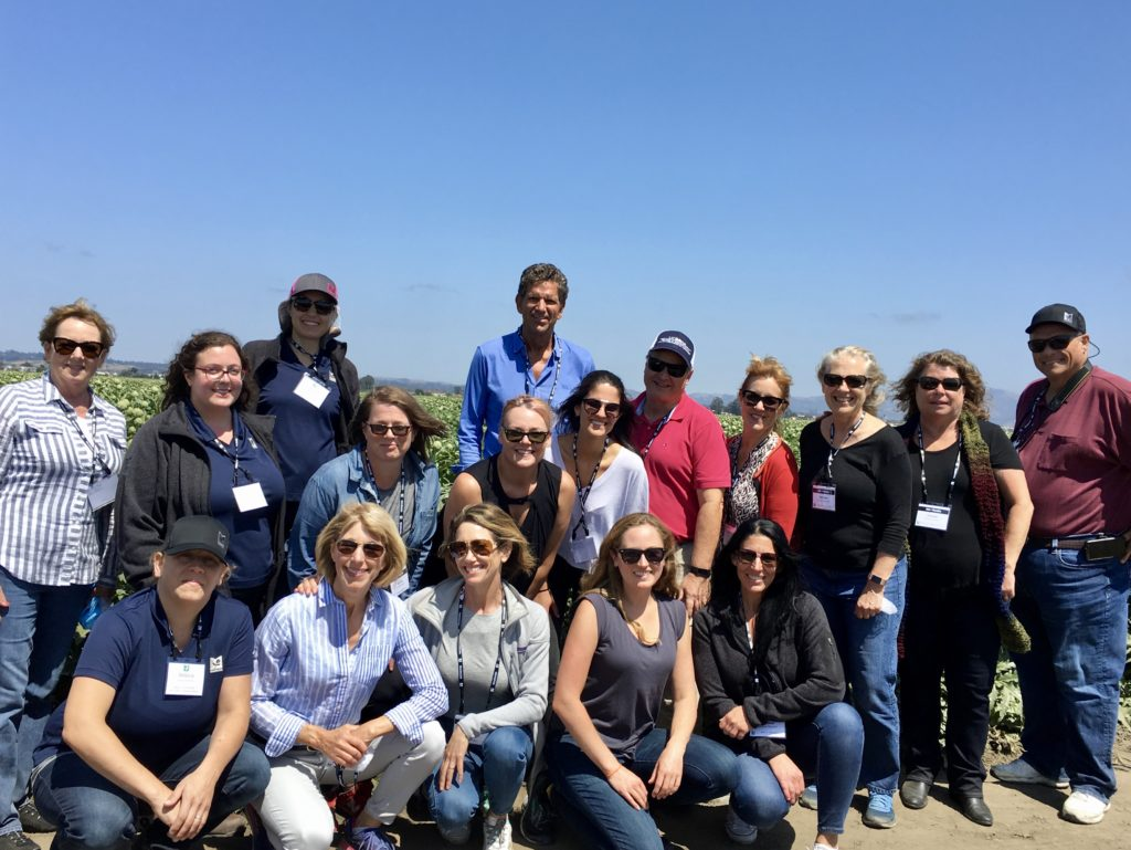 Group of Dietitians, Nutrition Scientists, and Farmers on the farm in Silicon Valley. WE visited celery, strawberry, Romaine lettuce, Iceburg lettuce and artichoke fields