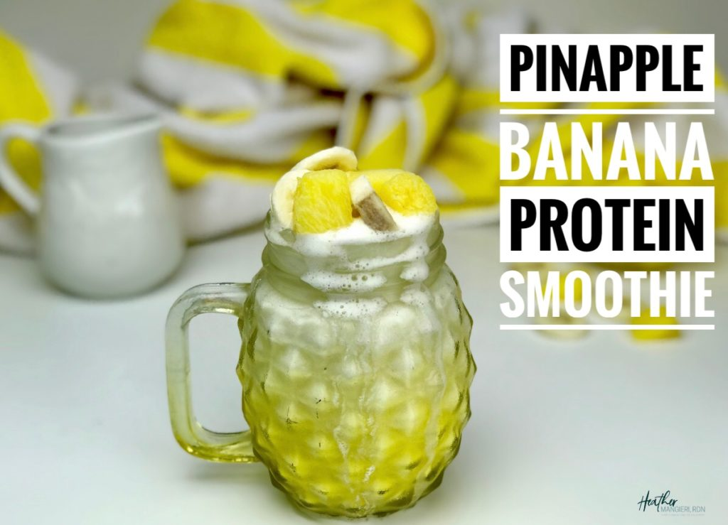 Drift away to a tropical island with this protein packed pineapple banana smoothie. It's easy and inexpensive to make, highly nutritious and made with just 4-ingredients!