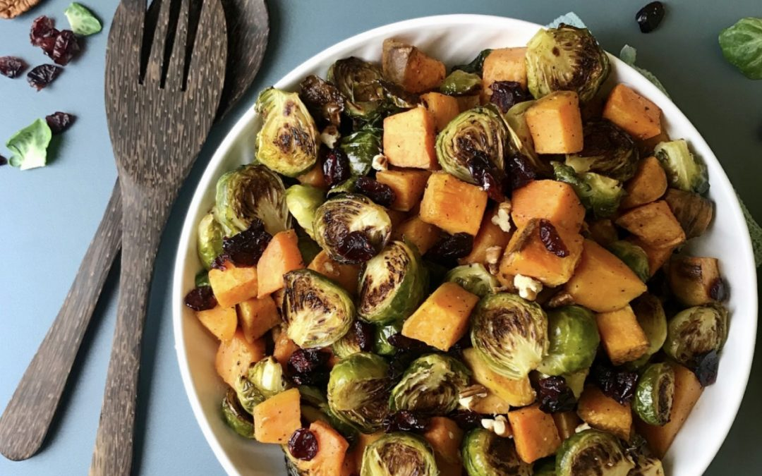 Roasted Brussels Sprouts and Sweet Potatoes with Maple Glaze