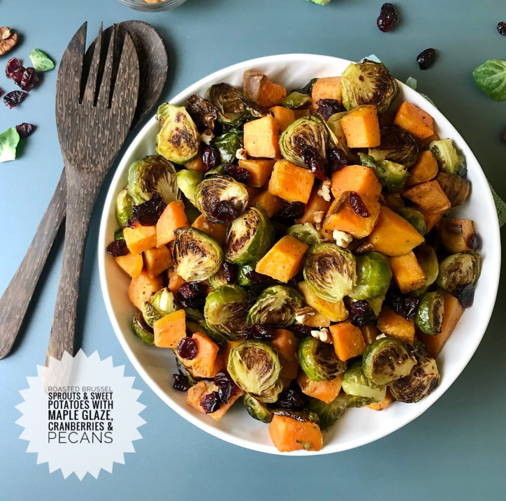 These sweet and savory sweet potatoes and Brussels sprouts with maple glaze are topped with cranberries and pecans, making them the perfect side dish for your Thanksgiving celebration.