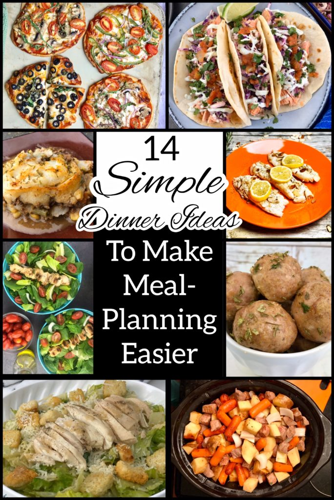 This post shares 14 different dinner ideas to feed a family. It also shares some guidelines to weekly meal planning, like choosing a variety of protein options, vegetables and side dishes. It also shares the importance of keeping dinner options simple during this time. Use this meal rotation during your shelter-at-home and coronavirus quarantine, and any time you can't figure out what to make.