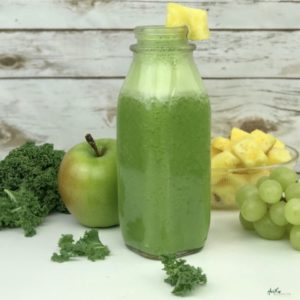 Give your immune system a boost with this nutrient-packed green juice power smoothie. Packed with 6 grams of fiber, 14 grams of protein, Vitamin C, Calcium and iron with only 270 calories .