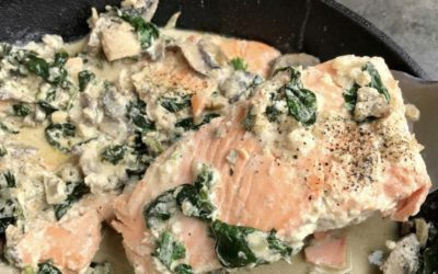 Pan-Seared Salmon with Creamy Mushroom & Garlic Sauce