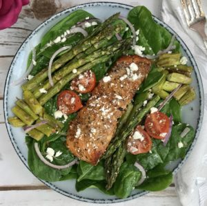 This crispy, colorful salmon and roasted asparagus salad is bursting with flavor and exploding with nutrition – including 7 grams of fiber and 31 grams of protein