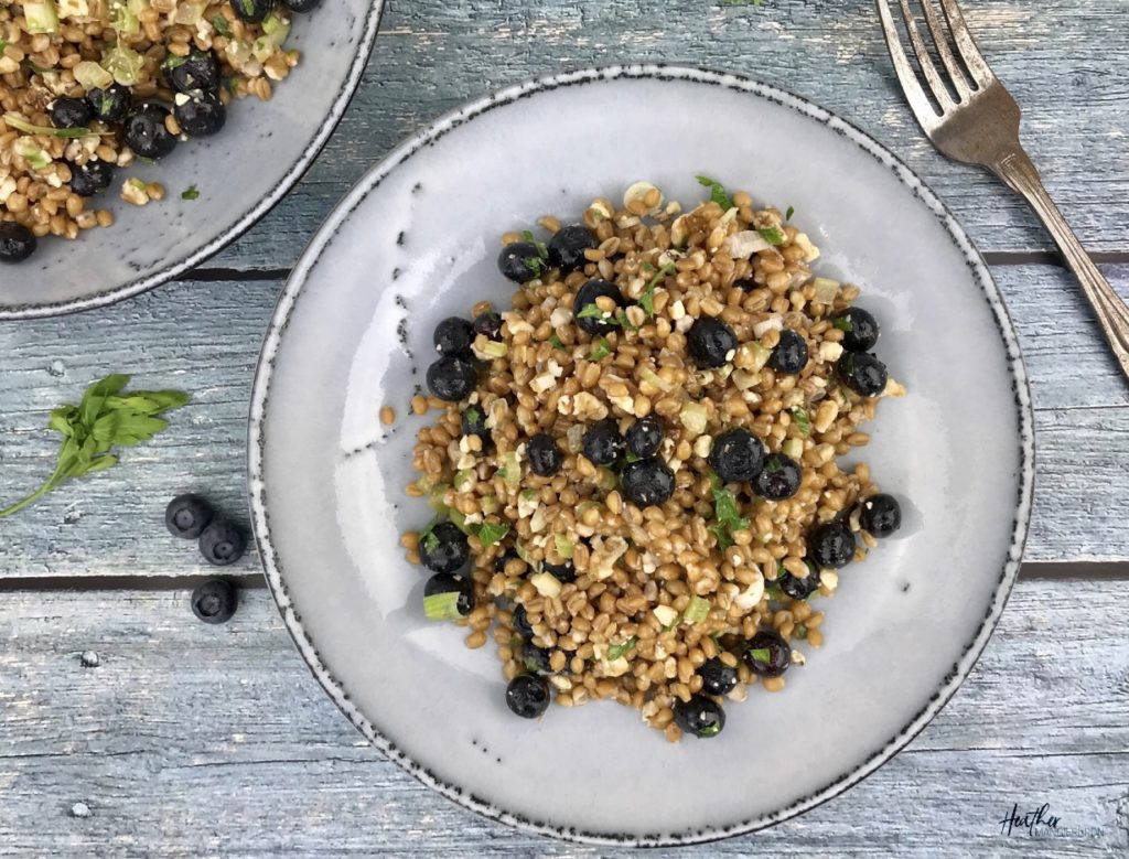 This simple wheat berry and blueberry salad is a blend of plump blueberries, whole grain wheat berries and other flavorful ingredients all combined into one delicious chilled salad