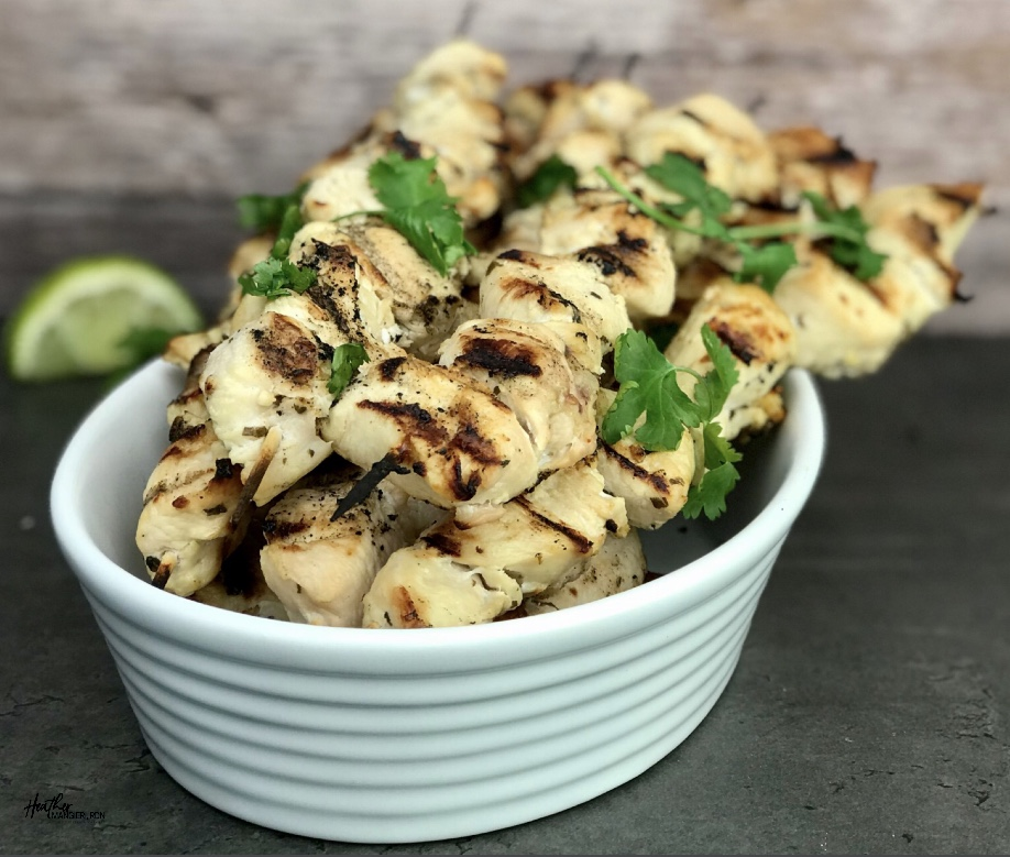 These chicken kabobs are marinated in a lime Cilantro vinaigrette dressing then grilled to perfection. Eat them with a salad or a side of rice and your favorite vegetable