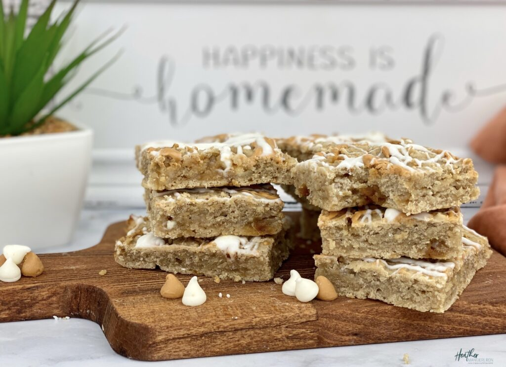 CHewy white bean blondie bars
