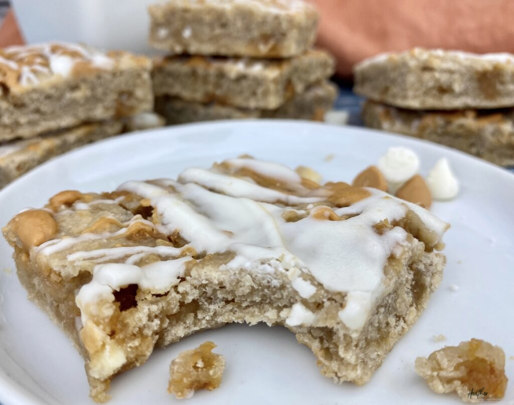 Chewy and flavor filled white bean blondie bars
