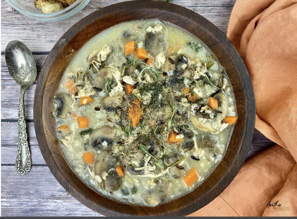 This hearty cream of chicken and mushroom soup is exploding with flavor from the variety of fresh herbs. It incorporates wild rice and three different vegetables, making it a nutrient-rich balanced meal all in itself