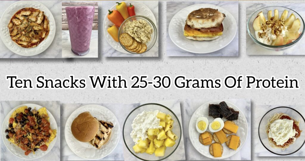 Spreading protein intake evenly throughout the day can help maintain feeling of fullness and support muscle protein synthesis. Here's some quick and easy snack ideas with 25-30 grams of protein each.
