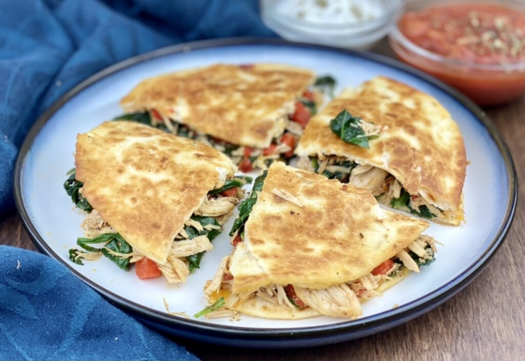 This crispy, flavor-filled chicken and spinach quesadilla is packed with nutrition and takes under 10 minutes to make! It's a delicious and easy way to get more greens, protein, fiber, calcium and iron in your diet! Disclaimer: I'm excited to partner with Fifth Season, the largest fresh mushroom grower in North America, for this post. As always, all opinions are my own, and I only partner with brands and products I genuinely love using in my own kitchen.