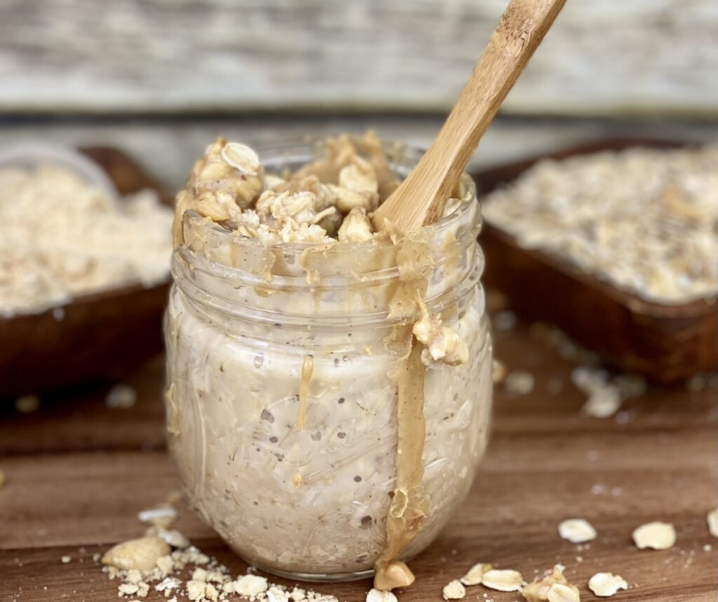 If you love peanut butter, you're going to love these peanut butter protein overnight oats! Make them in advance so you have a quick, no-cook breakfast or protein-packed snack during the day.