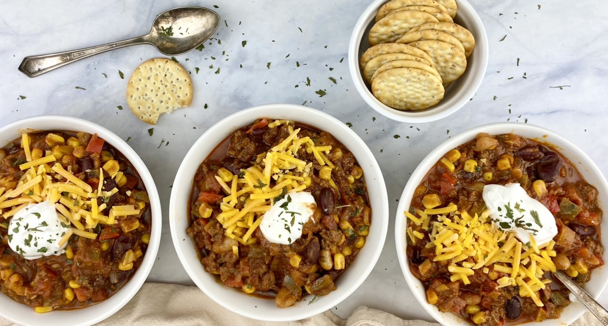 This healthier, vegetable-packed beef chili is made with lean beef, two different types of beans and four different vegetables for a hearty, nutrition-packed meal