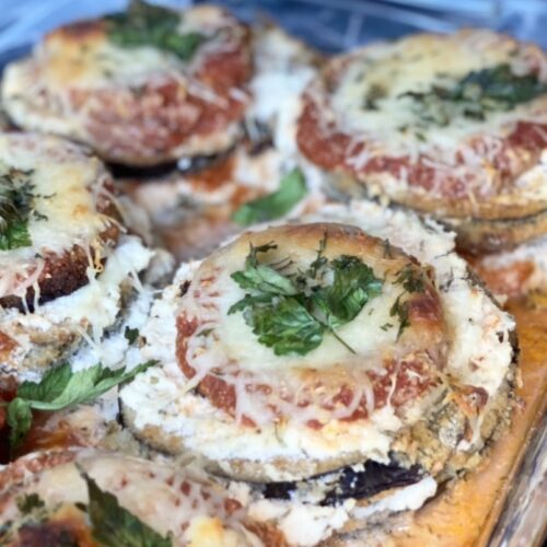 If you're looking for an easy, healthier version of your favorite eggplant parmesan, this is it! This recipe is made with minimal ingredients, part-skim and reduced fat dairy products and portion controlled so you get the same flavor and protein content as traditional recipes without as many calories or fat.